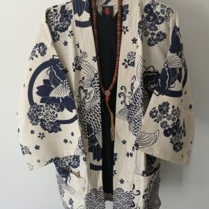 White Japanese Haori with Blue Koi Fish UK Haori UK Japanese Haori UK Japanese Yukata UK Japanese clothing UK Japanese fashion UK animetal