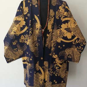 Navy Japanese Haori with Golden Koi Fish UK Haori UK Japanese Haori UK Japanese Yukata UK Japanese clothing UK Japanese fashion UK animetal