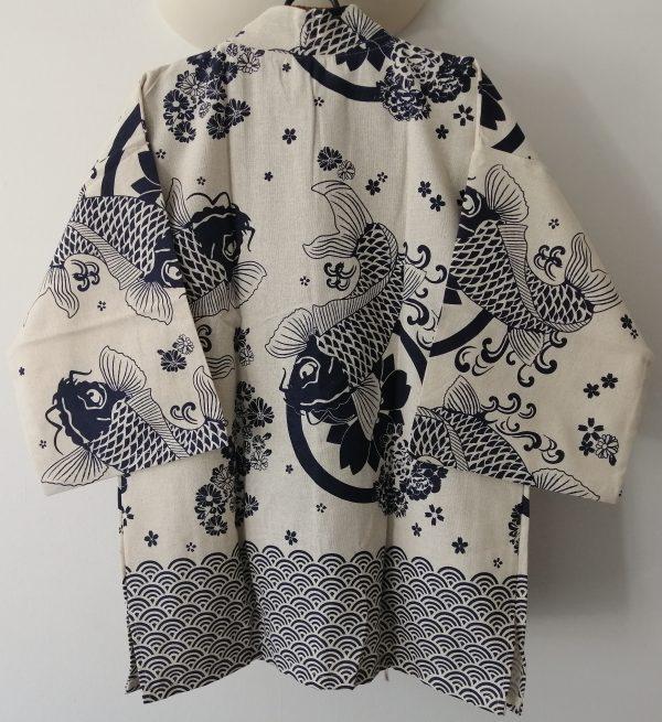 White Japanese Haori with Blue Koi Fish UK Haori UK Japanese Haori UK Japanese Yukata UK Japanese clothing UK Japanese fashion UK animetal