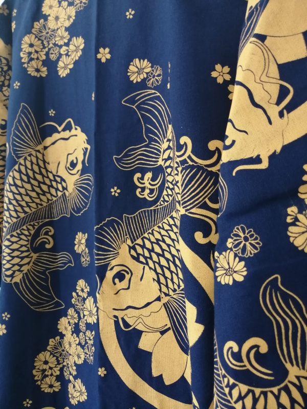 Navy Japanese Haori with Golden Koi Fish UK Haori UK Japanese Haori UK Japanese Yukata UK Japanese clothing UK Japanese fashion UK animetal