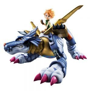 Digimon Adventure G.E.M. Series Metal Garurumon & Ishida Yamato Statue Megahouse UK Digimon figures UK digimon garurumonmon metal figure UK Animetal