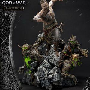 God of War (2018) Statue Baldur & Broods 62 cm Prime 1 Studio UK God of War memorabilia UK God of war merchandise UK god of war statues UK Animetal