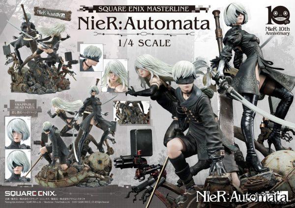 NieR Automata Statue 1/4 2B, 9S & A2 Deluxe Version 62 cm Square Enix UK NieR Automata statues UK nier automata diorama statue square enix UK Animetal
