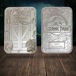Jurassic Park Replica Metal Entrance Gates (silver plated) FaNaTik UK Jurassic Park merchandise UK Jurassic Park entrance gates UK Animetal