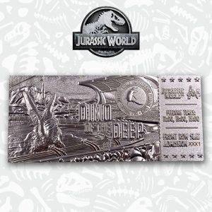 Jurassic Park Replica Mosasaurus Ticket Ticket (silver plated) FaNaTtik UK Jurassic Park merchandise UK Jurassic Park mosasaurus ticket UK Animetal